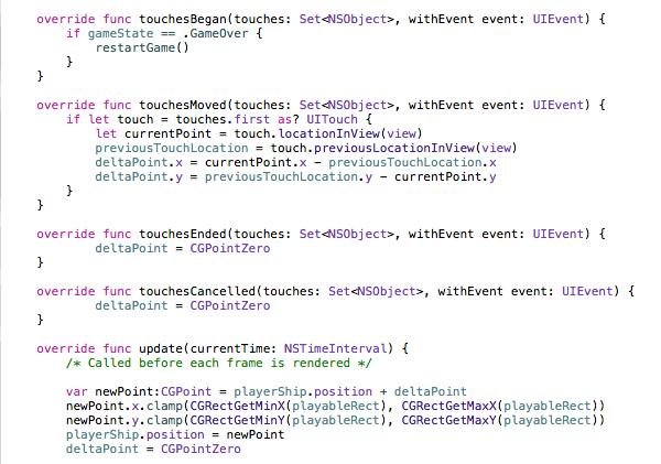 code SpriteKit calculant la position du joueur